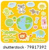 Vector illustration, cartoon animals ,cute doodle - stock vector