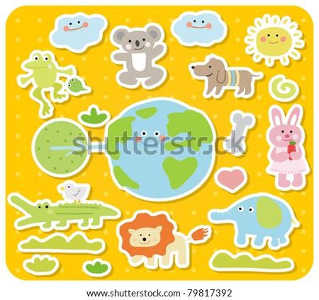 Vector illustration, cartoon animals ,cute doodle - stock vector