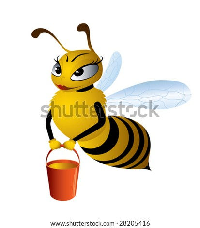 Vector illustration cartoon bees gathering honey