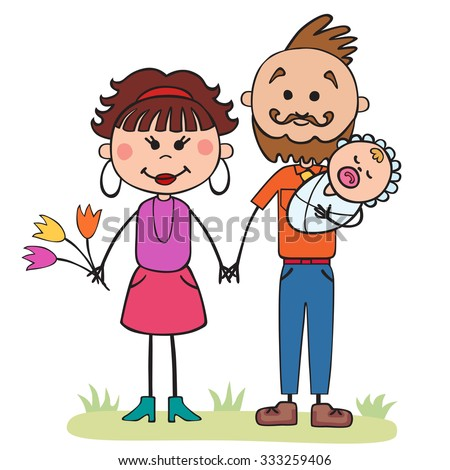 Vector illustration, cartoon, family, mom and dad, children, holding hands
