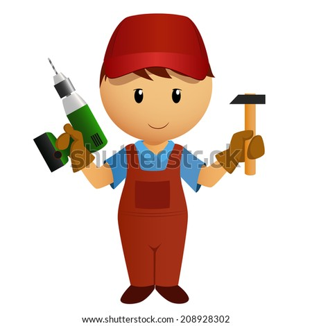 Vector illustration. Cartoon handyman with hammer and battery drill - stock vector
