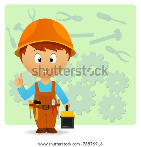 Vector illustration. Cartoon handyman with tools on industry background - stock vector