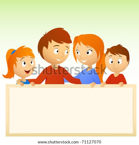 Vector illustration. Cartoon happy family holding blank sign - stock vector