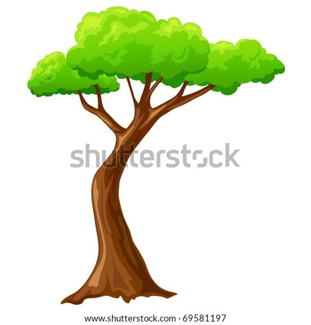 Vector illustration. Cartoon isolated tree on white background - stock vector
