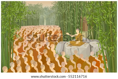 Vector Illustration Cartoon: Makha Bucha Day is an important day for Buddhists The date The monks come meeting to pay homage to Lord Buddha in house of priest sanctuary Weluwan Temple bamboo forest.