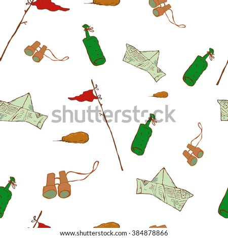 Vector illustration  cartoon, Pattern objects of the desert Pattern objects of the bottle, paper Panama, design web sites, promotional products, printed materials,  - stock vector