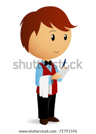 Vector illustration. Cartoon waiter with towel on his hand take an order. - stock vector