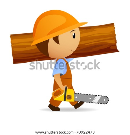 Vector illustration. Cartoon woodcutter with chain-saw and trunk on his shoulder