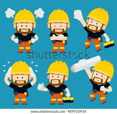 Vector illustration - cartoon worker set