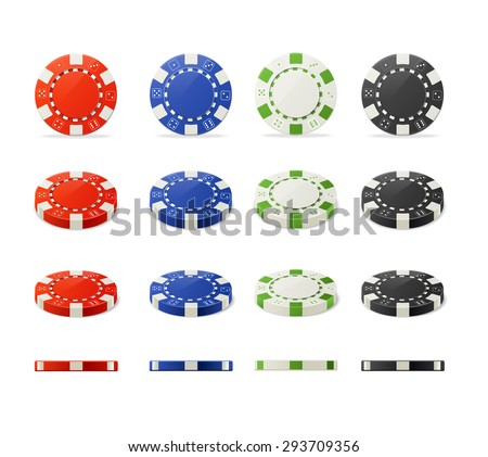 Vector illustration casino poker chips set for your designs - stock vector