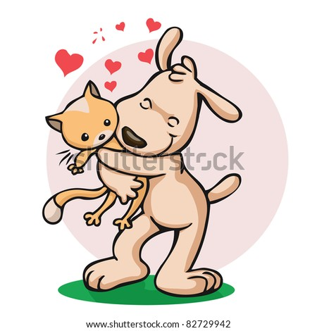 Vector illustration, cat and dog friendship, card concept. - stock vector