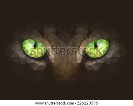 Vector illustration. Cat eyes look at you out of the darkness, in the style of abstract triangles. - stock vector