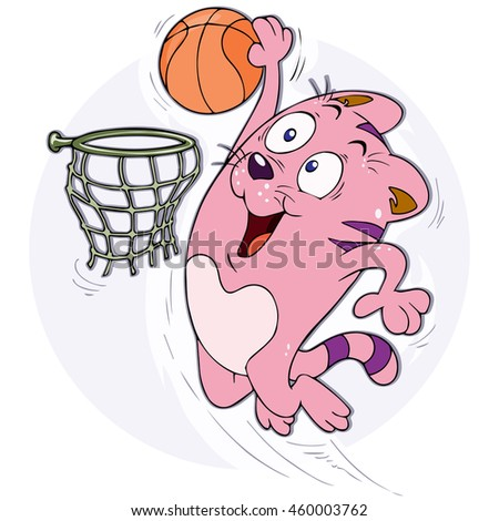 Vector illustration, cat playing basketball, card concept.