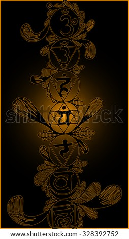 Vector illustration, chakra symbols in golden collection, black background, card concept. - stock vector
