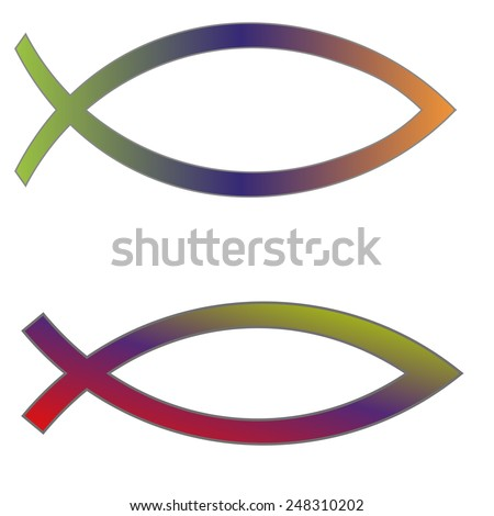 Jesus Christian Fish Symbol Colored Icon Stock Illustration ...