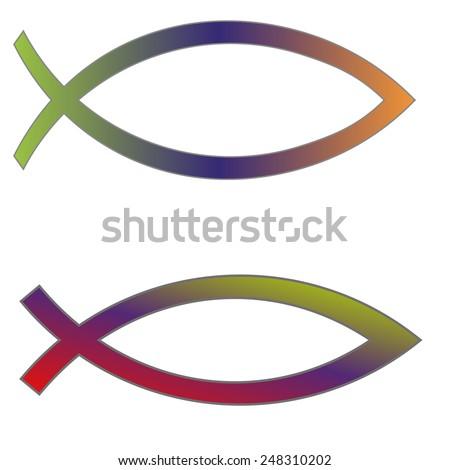 Vector illustration Christian fish symbol on white background. - stock vector