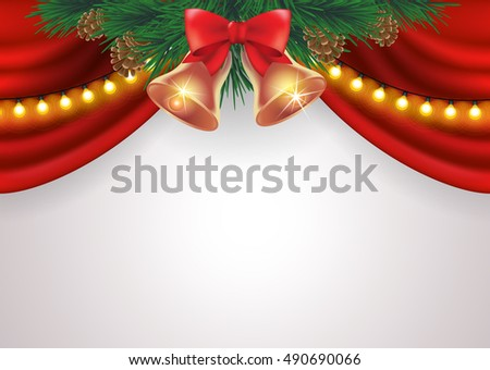 vector illustration christmas and new year advertisement poster with fir branches, red curtain, bells on light background