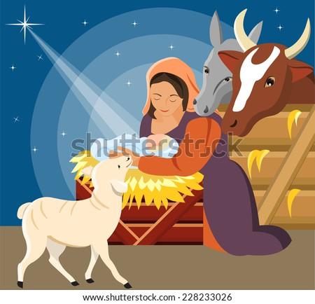 Vector Illustration - Christmas Christian nativity scene with baby Jesus - stock vector