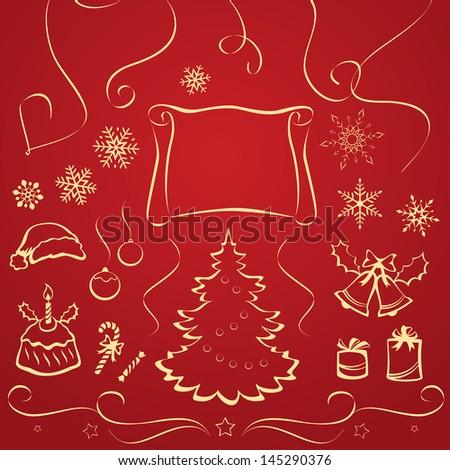 Vector illustration: Christmas design elements - stock vector