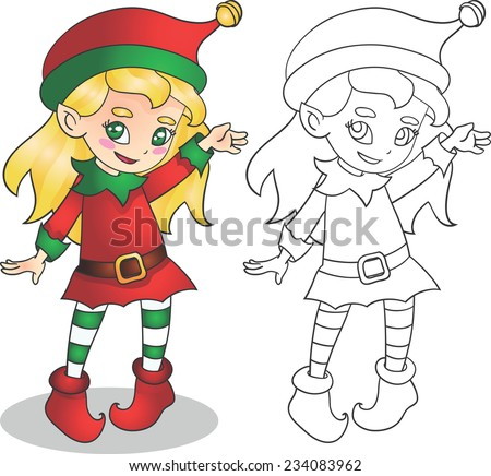 Vector illustration christmas elf girl, outline for coloring book for children, isolated on white background - stock vector