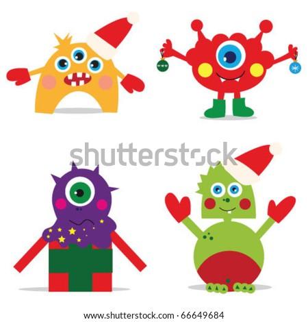 vector illustration. christmas monsters. - stock vector