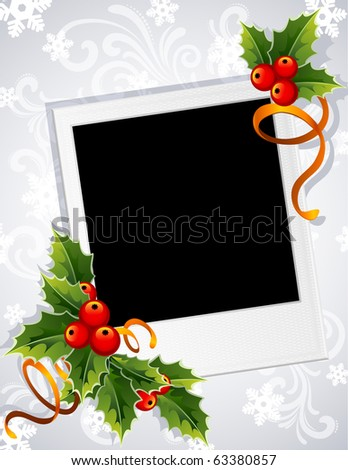Vector illustration - Christmas photo frame with holly - stock vector