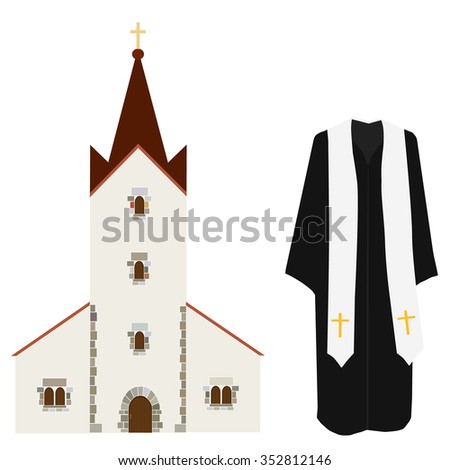 Vector illustration church prayer priest pastor or preacher clothing costume. Church building vector icon, wedding chapel, christianity  catholic - stock vector