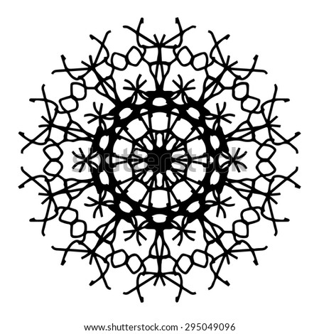 Vector illustration circle ornament black and white pattern round