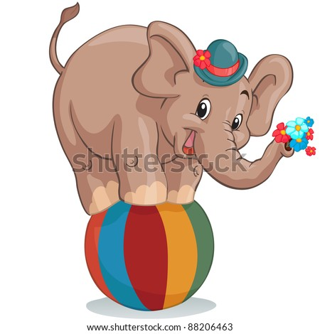 Vector illustration, circus elephant as acrobat, card concept, white background. - stock vector