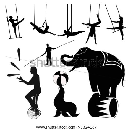Vector illustration.Circus silhouettes - stock vector