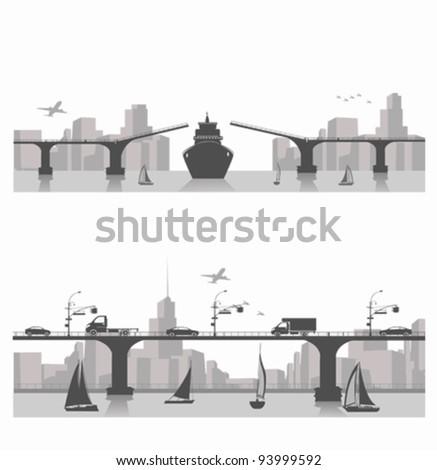 Vector illustration.City bridge landscape - stock vector