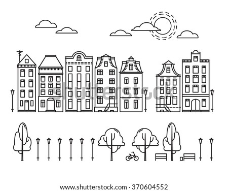 Vector illustration - City in linear style with trees and clouds. Amsterdam city - stock vector