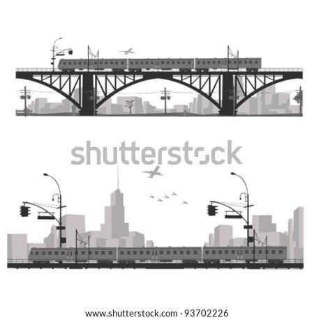 Vector illustration.City scape silhouette. Train on a bridge . - stock vector
