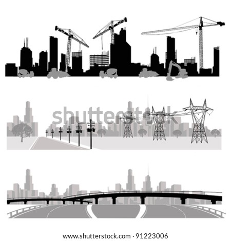 Vector illustration.City skyline.Construction,energy distribution and highway silhouette - stock vector