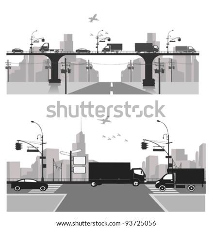 Vector illustration.City traffic.Bridge silhouette - stock vector