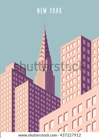 Vector illustration. cityscape. New York and Chrysler building. Isometric perspective. Cartoon Style. - stock vector