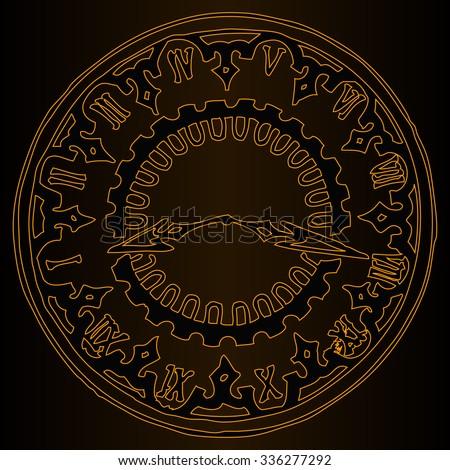 Vector illustration, classic clock, dark background, golden collection, card concept. - stock vector