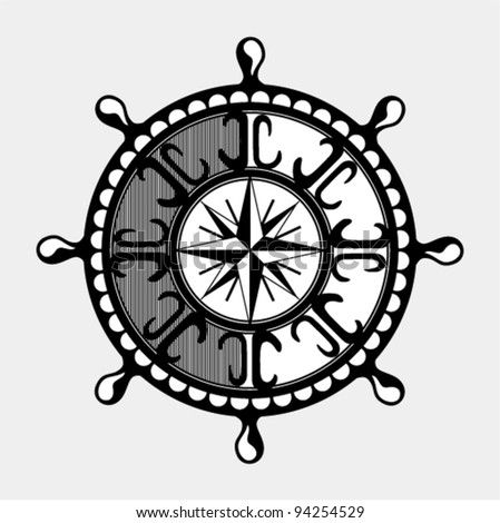 Vector illustration - Classical wooden ship's wheel of the type used on large sailing vessels - stock vector