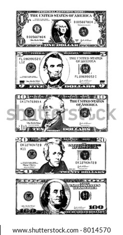 Vector illustration (cleaned trace) of American Dollar bills. - stock vector