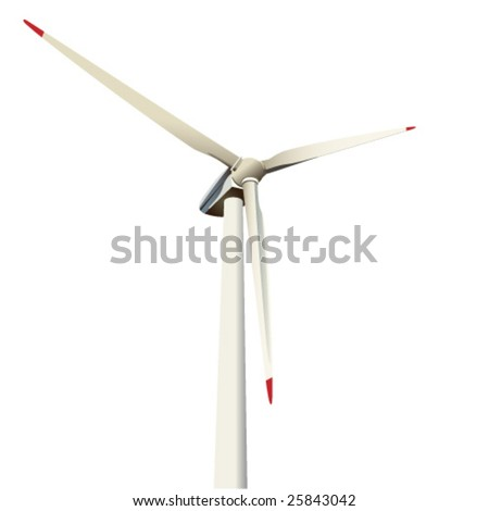 Vector illustration , close-up of a power generating wind turbine - stock vector