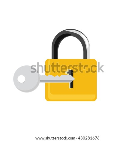 Vector illustration closed golden lock and silver key isolated on white background. Lock, key icon set, collection. Padlock