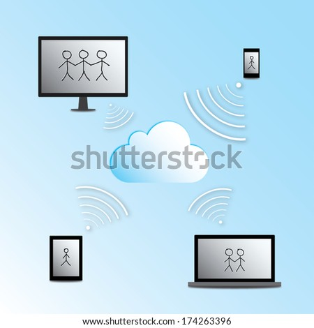 Vector illustration - cloud computing concept with desktop computer, laptop, tablet and cellphone