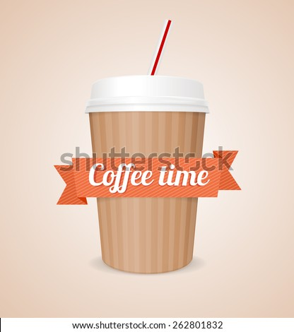 Vector illustration coffee paper cup with tube isolated on pink background - stock vector
