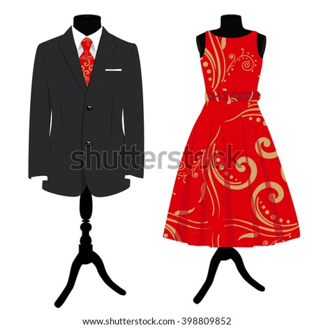 Vector illustration collection man suit with red tie and woman elegant cocktail dress on mannequin. Formal dress - stock vector