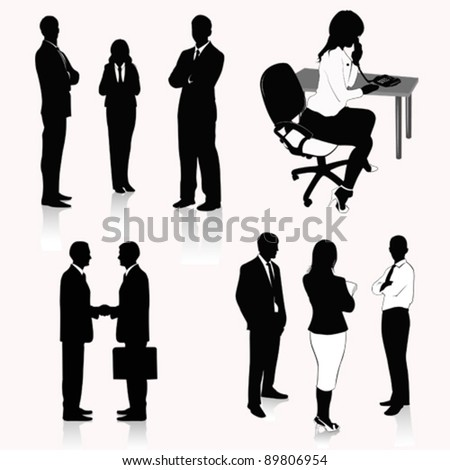 Vector Illustration: Collection of business people silhouettes - stock vector