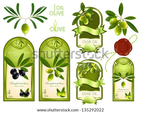 Vector illustration. Collection of  label for product. Olive oil. - stock vector