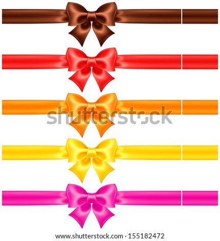 Vector illustration - collection of silk bows in warm colors with ribbons. Created with gradient mesh. - stock vector