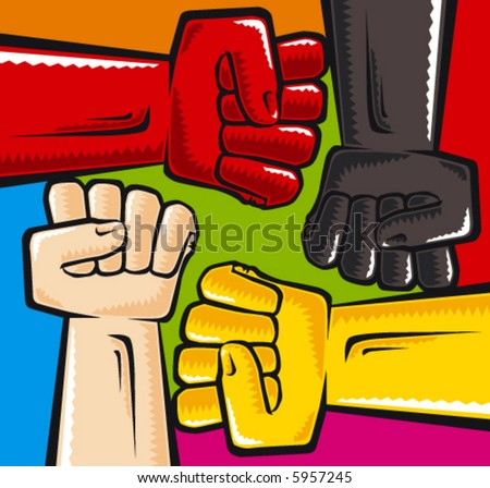 Vector illustration. 4 color fists. - stock vector