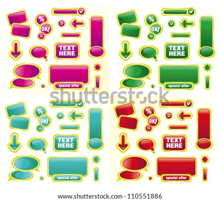 Vector illustration colored labels sets on white background - stock vector