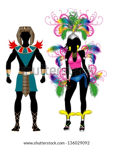 Vector Illustration Colorful Couple for Carnival Costume Silhouettes with a man and a woman. - stock vector
